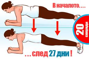 Упражнение за 4 минути на ден- резултати за по-малко от месец